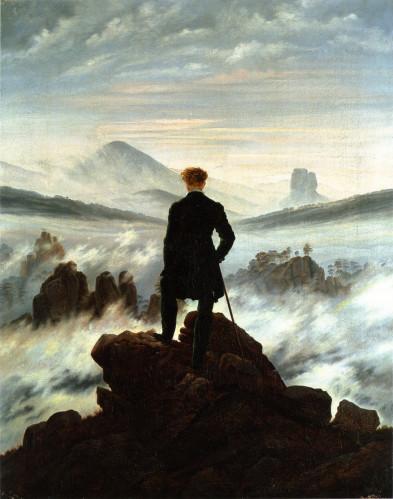 En tête Voyageur contemplant une mer de nuages C D Friedrich