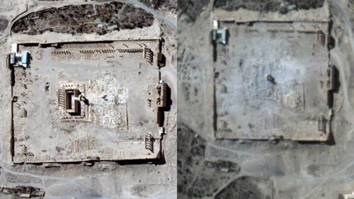 Palmyre patrimoine en péril, photo avant après des destructions causées par l'Etat islamique