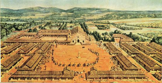 Vue de la mission jésuite de San Ignacio Mini (Argentine) au XVIIIe siècle