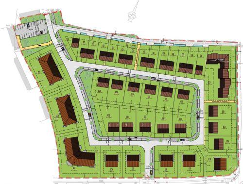 Modèle type de lotissement, avec un travail sur la diversité des types d'habitat (individuel, groupé, collectif). La forma architecturale est plus vairée, mais l'urbanisme reste le même.