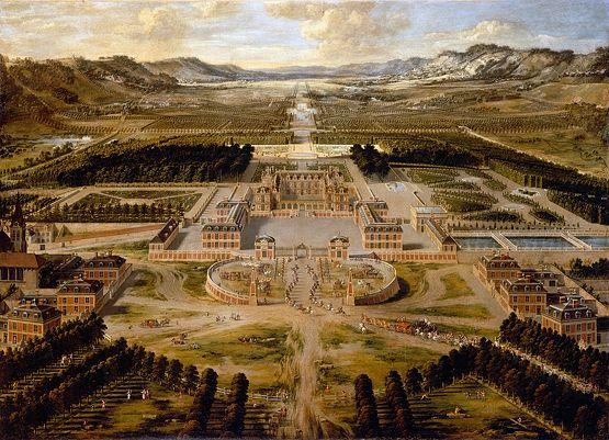Les premiers pavillons de Versailles, visibles à droite et à gauche du tableau (ils sont au nombre de 6, 3 de chaque côté)