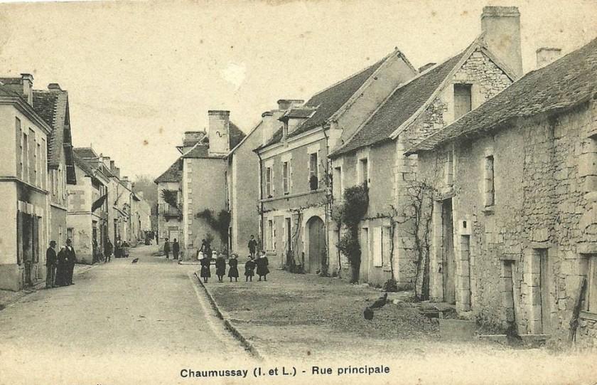 Rue principale du village de Chaumussay à la fin du XIXe siècle