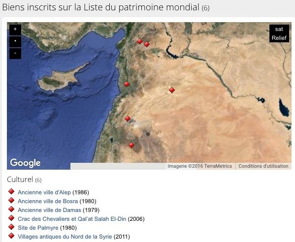 Biens inscrits sur le patrimoine mondial en Syrie - site de l'UNESCO