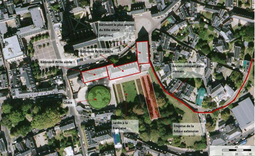 Photos aérienne du site des Beaux-Arts et du projet futur d'extension